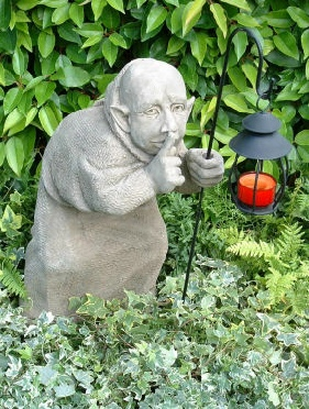 Tom, one of three monk statues for the garden called Sneaks